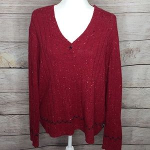 Woolrich Bright Ruby Heather V-Neck Sweater